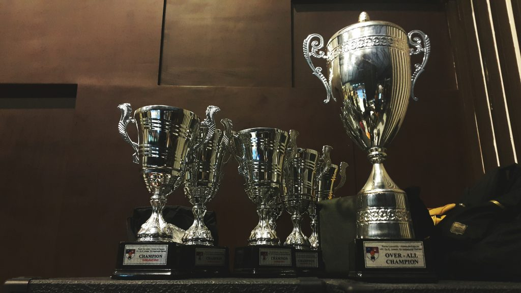 First-plFirst-place trophies neatly kept in a cabinet. Photo by Ariel Besagarace trophies neatly kept in a cabinet