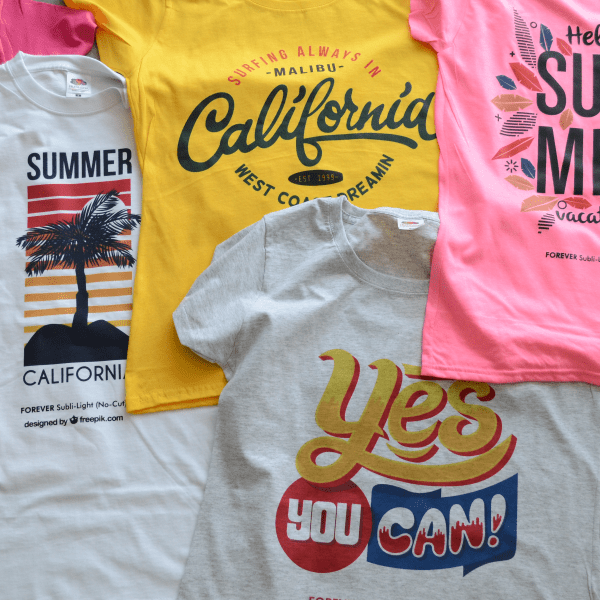 An assortment of printed T-shirts